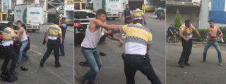 [Vídeo] La brutal paliza que el feroz camionero propina al policía que osa ponerle una multa