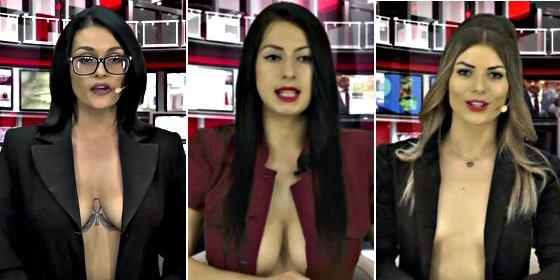 El secreto del éxito de los informativos 'transparentes' de Albania: presentadoras en cueros