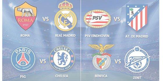 Champions League: Roma-Real Madrid, Arsenal-FC Barcelona y PSV-Atlético, eliminatorias de octavos