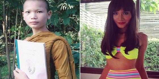 El monje budista que se ha convertido en un modelo transexual enseñando bragas