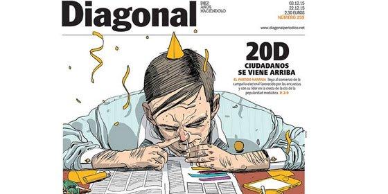 'Diagonal' muestra a un hombre esnifando para ilustrar un reportaje sobre el ascenso de Ciudadanos