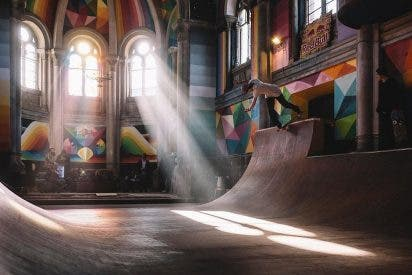 "Una iglesia asturiana, convertida en un ""skatepark"""