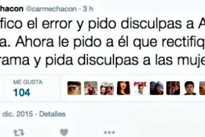 Carme Chacón saca un falso tuit de Rivera para erosionar por 'machista' a Ciudadanos y se la pega en Twitter