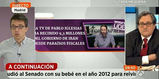 """Marhuenda cuestiona a Errejón por la financiación desde Irán y Venezuela: """"¡Es tan fácil como que saquéis los papeles!"""""""
