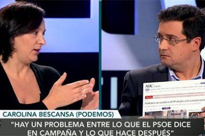 Así debate una 'picada' Bescansa con el PSOE: comparando a Óscar López con Eduardo Inda