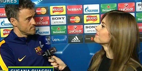Brutal tensión en la Champions: Luis Enrique contesta a cara de perro a las preguntas de Susana Guasch