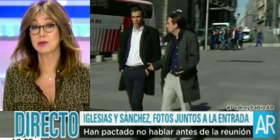"""Ana Rosa se troncha del posado Sánchez-Iglesias: """"Ha llegado la moda primavera-verano a la pasarela San Jerónimo"""""""