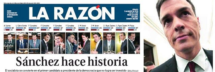 Pedro Sánchez tenía razón: hace historia siendo el primer candidato a presidente rechazado