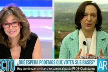 El vacile de una hastiada Ana Rosa Quintana a Carolina Bescansa con las preguntas a las bases podemitas