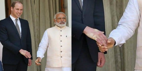 [VÍDEO] El primer ministro de India aplasta la mano al príncipe británico