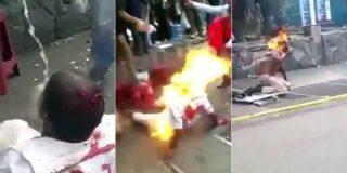 Con esta mala leche queman vivo en pleno Caracas a un inmaduro carterista