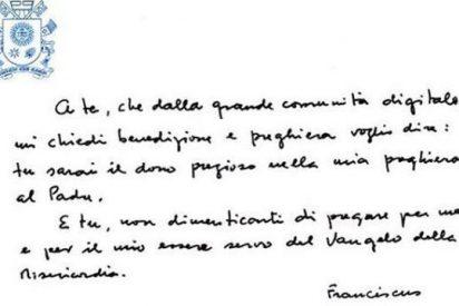 Primer mensaje manuscrito del Papa a sus seguidores de Instagram