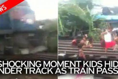 El escalofriante vídeo de los niños que juegan con su vida frente a un tren