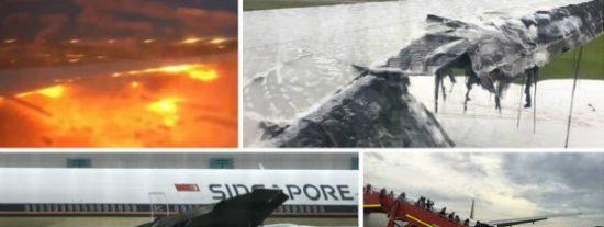 ¡Fuego en el ala! Pavoroso aterrizaje de emergencia de un avión en Singapur
