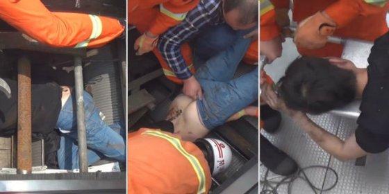 El vídeo del desventurado a quien se traga una escalera mecánica