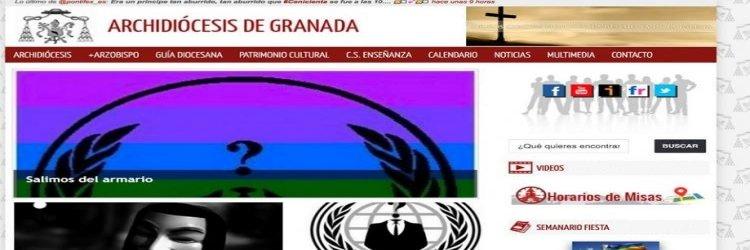 Anonymous 'hackea' la web de la Archidiócesis de Granada en protesta contra la homofobia y la pederastia