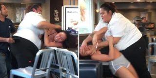 La empleada del McDonald's, que parece la hermana de Mike Tyson, da una soberana paliza a la clienta caradura