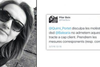 La 'community manager' de Baleària, fanática separatista, promete un escarmiento al camarero español
