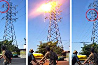 Se electrocuta y cae achicharrado desde lo alto de la torre de alta tensión