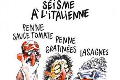 La repugnante viñeta de Charlie Hebdo mofándose del terremoto en Italia