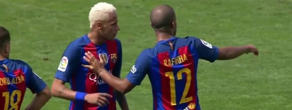 La charla de Neymar con Rafinha tras el partido ante el Leganés