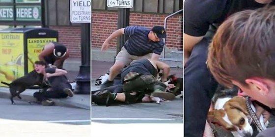 [VÍDEO] Una mujer arriesga la vida para salvar a su perro del ataque de un pit bull