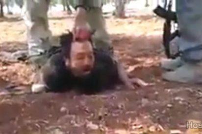 El leal soldado sirio pide agua a los 'moderados' rebeldes islámicos... y lo decapitan