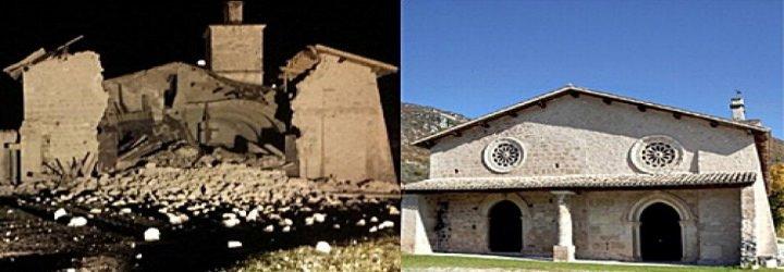 Iglesias derruidas en la turística Norcia tras los terremotos