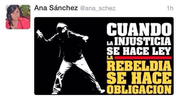Ana Sánchez, número 2 de Tudanca llama a la rebelión con una imagen de un encapuchado