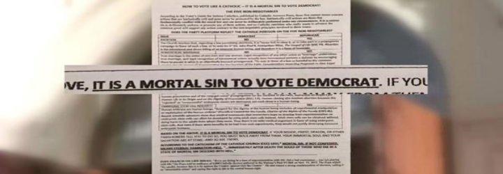"""""""Es pecado mortal votar al Partido Demócrata"""", advierten desde una parroquia católica de San Diego"""