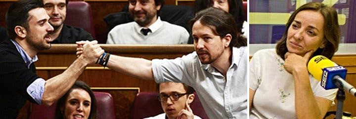 Ramón Espinar y Pablo Iglesias en el Congreso y Pepa Bueno.
