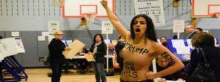 """Las activistas de Femen en el colegio electoral: """"Trump, agárrate tus cojones"""""""