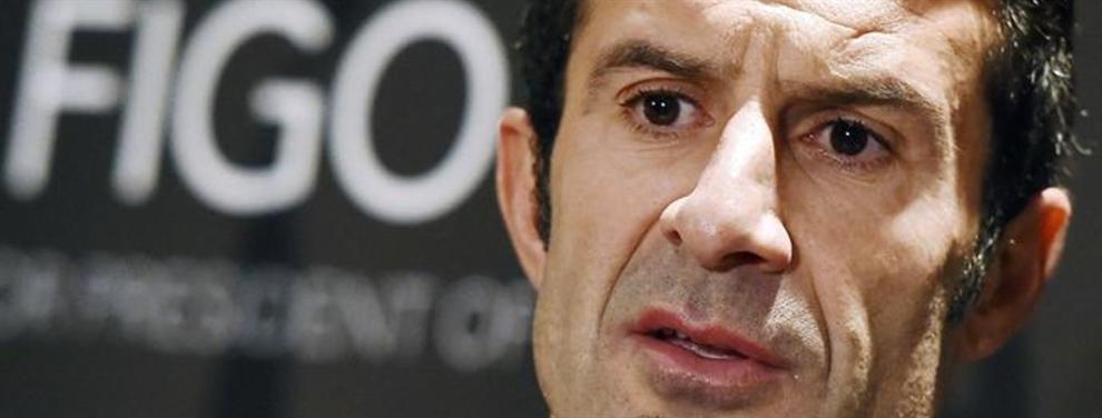 Figo se parte la cara por un jugador del Barça