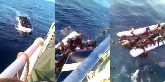 El terrible vídeo de los confusos migrantes que se ahogan a decenas tras hundir su balsa