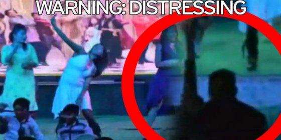 Así vuela un borracho la cabeza a una bailarina embarazada en el escenario