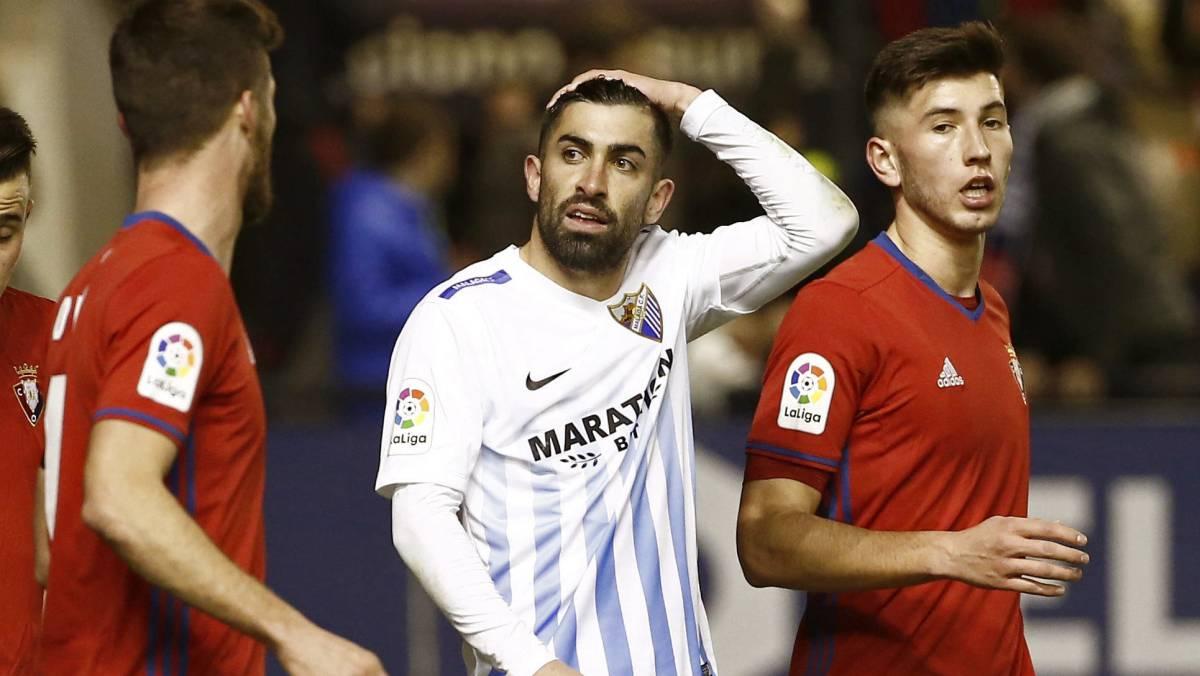 El Málaga le quita un punto al Osasuna en El Sadar, que no le arregla casi nada