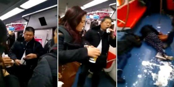 El escalofriante vídeo del suicidio colectivo de unos estafados en pleno metro de Pekín