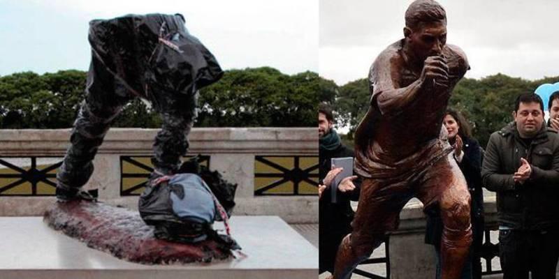 Decapitan y mutilan la estatua de Leo Messi en Buenos Aires
