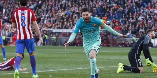 Leo Messi se desmarca en el Pichichi
