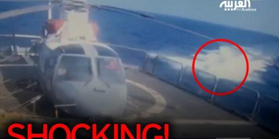 El impactante vídeo del submarino suicida que explota contra una fragata de Arabia Saudí
