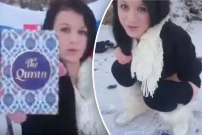 La joven que mea y quema un Corán incendiando redes desde las nieves