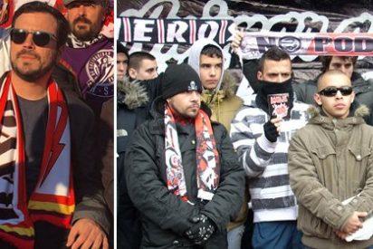 Así se derrite Alberto Garzón con los fanáticos de ultraizquierda del Rayo, 'Bukaneros'