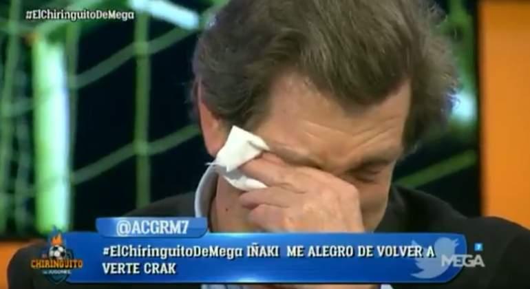 Iñaki Cano llora emocionado en su regreso a 'El Chiringuito' tras recuperarse de un infarto