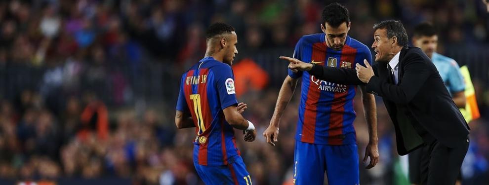 La intensa charla de Luis Enrique con Neymar antes del partido ante el Atlético
