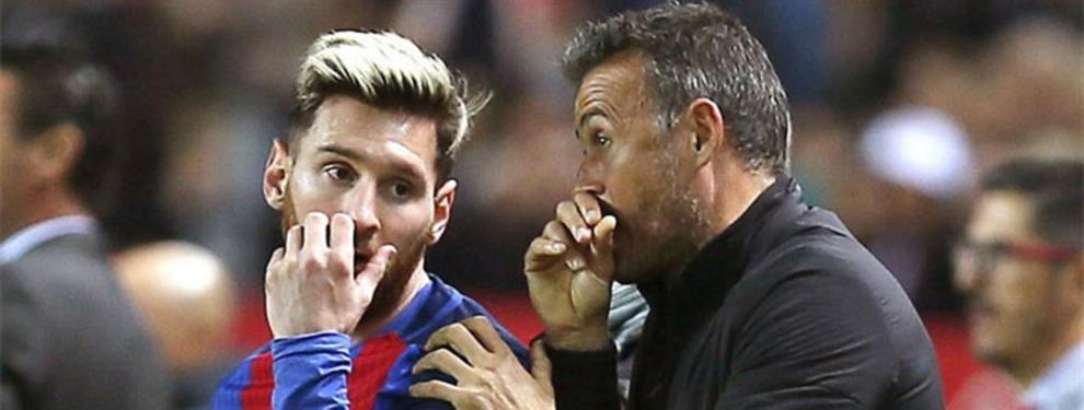 Messi señala al ojo derecho de Luis Enrique en el vestuario del Barça