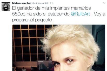 Inaudito: la ex actriz porno, Miriam Sánchez vende sus pechos en Twitter