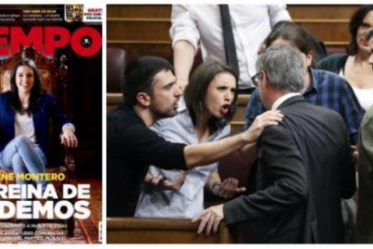 Los podemitas que jaleaban los azotes a Mariló llaman machista a Tiempo por esta portada sobre Irene Montero