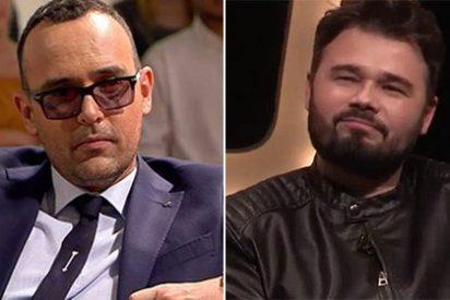 """Rufián se pone 'gallito' y responde a Risto... un mes después: """"Es el Messi de los cuñados"""""""