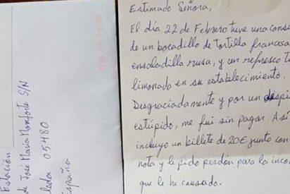 El 'Arrepentido del Simpa' envía 20 € por carta a la dueña de un bar del que se fue sin pagar