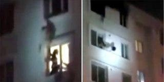 El mañoso bombero que atrapa a una mujer que cae desde un sexto piso
